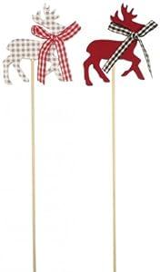 Tischdekoration: Deko-Stick, Alpenland-Stil, Hirschmotiv, 23 cm, 3er-Pack