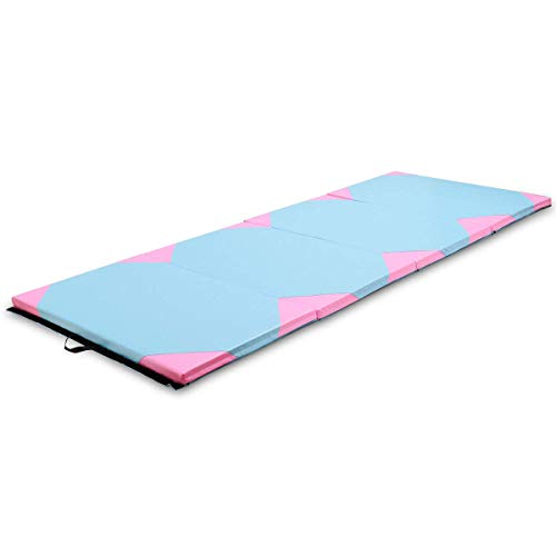 MAT EXPERT 4'x10'x2 Gymnastics Mat Thick Folding for Tumbling Exercise Gym Fitness Mat with Hook & Loop Fasteners (Blue/Pink-Small Triangle)