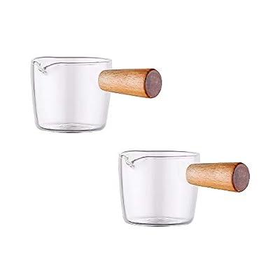 Sizikato 2pcs Transparent Glass Creamer with Wooden Handle, Mini Coffee Milk Creamer Pitcher. 50ml