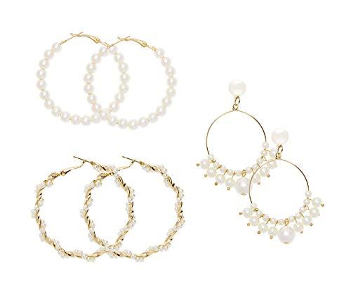 PENTA ANGEL 3 Pairs Big Hoop Earrings Gold Plated Faux Pearl Circle Dangle Earrings Geometric Round Drop Hoops for Women Girls (Earrings)