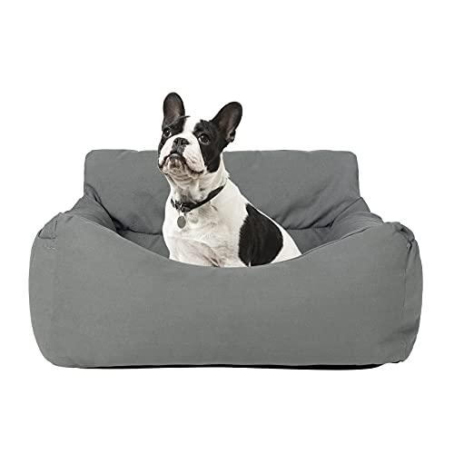 Ryoizen Asiento de coche para perros, cama para mascotas, portón portátil, diseñado para viajes, lavable, cojín para cachorro plegable portátil (gris, verde, 61 × 53 × 23 cm)
