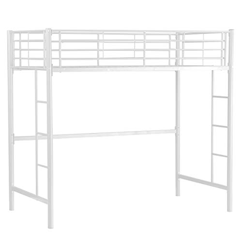 COSTWAY Loft Bed - 3FT Single Bunk Bed Bunkbed Mid Sleeper Bed Fits for 90 * 190 CM Mattress (NOT INCLUDED), Metal High Bed Frame with Ladder In Black for Living, Guest and Bed Room (White)