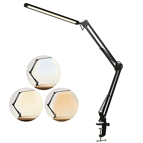 Lampada con Pinza 12W,Lampada da Tavolo Lampada da Scrivania a LED con Staffa in Metallo con Collo Flessibile 3 Modalità di Colore 10 Luminosità Dimmerabile Lampada da Scrivania