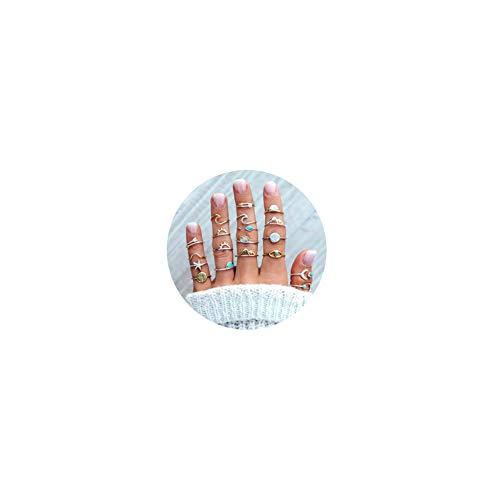 19pcs Silver Star Moon Knuckle Ring Set for Women Girls Vintage Stackable Midi Finger Rings Set