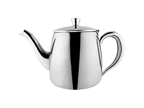 Cafe Ole PT-048 Erstklassige Premium Teekanne, 18/10 Edelstahl, 48 Ounces, Tropffreies Ausgießen, hohle Griffen & Klappdeckel, Silber
