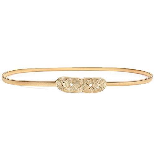 Cinturón de piel para mujer, ajustable, elástico, fino y con hebilla de aleación para vestido de boda, decoración dorada