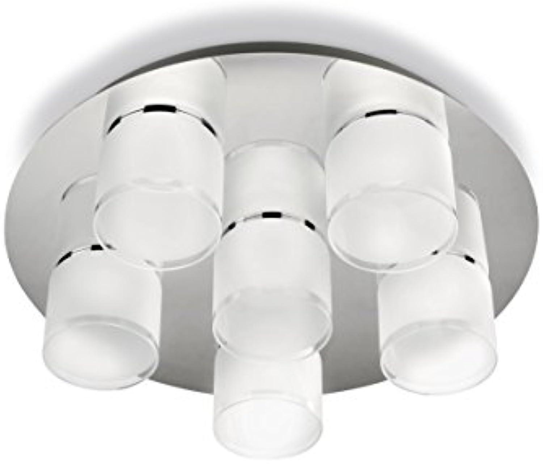 Philips myLiving LED Deckenleuchte Byzantin 6-flammig, edelstahl glas