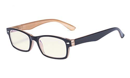Eyekepper Computer-Lesebrille mit Federscharniere Bügle in UV-Schutz, Anti-Blau-Strahlen Blendschutz und kratzfest Gläser (Gelb getönte Gläser, in Schwarz-Braun Fassung) +1.75