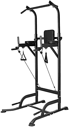 Bigzzia Multi Pull Up Bar Dip Station Height Adjustable Power Tower Exercise Equipment Fitness Workout Station for Home Gym