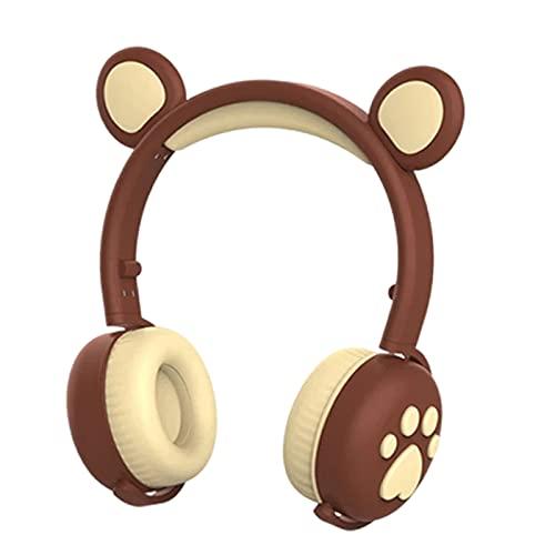 H HILABEE Bear Ear Paws Auriculares inalámbricos RGB 3 Colores LED Bluetooth y Auriculares con Cable en la Oreja 15H Tiempo de música para niñas PC - marrón