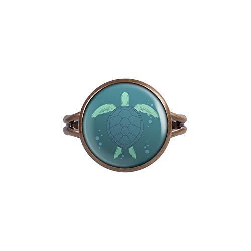 Mylery Ring mit Motiv Schildkröte Meer Wasser Bronze 14mm
