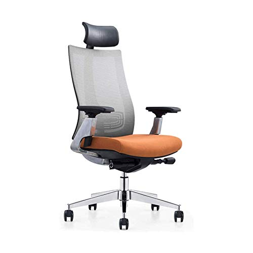WSDSX Home Office Chair Ergonomic Chair Office Chair - with Removable Headrest and High Back Cushion (Color : Orange)