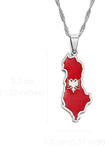 BACKZY MXJP Necklace Albania Map and Eagle Flag Pendant Necklaces for Women Men Silver Color Albanian Jewelry Necklace