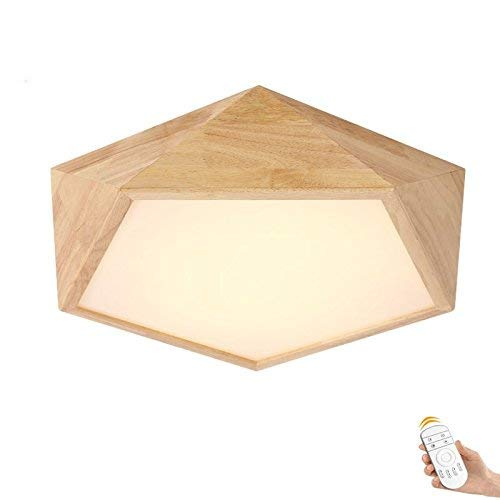 HG-JIAJUR Plafondlamp, woonkamerlamp van hout, platte lamp van eikenhout