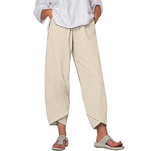 S-UN Damen Lange Hosen Hose mit Weitem Bein LäSsig Lose Leinenhose Einfarbig Elegante Business Hosen ÜBergrößE Elastischer Bund Leichte Strandhose