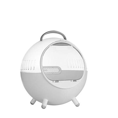 ELEAMO Round Cat Carrier Transparent Breathable Portable Puppy Carrier Handbag Travel Space Capsule Bubble ABS Out Dog Bag,White