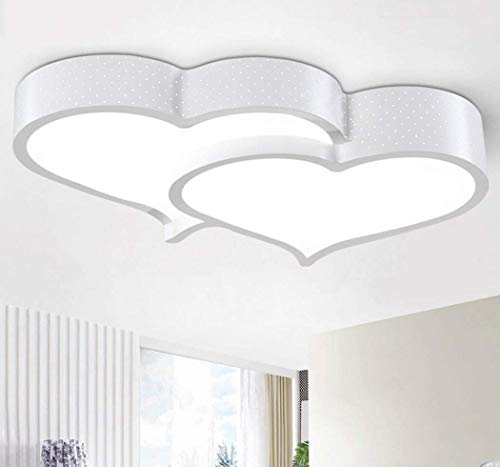 HH Modern Minimalist Schlafzimmerlampe Light Nordic Creative Deckenleuchte Herzförmige Deckenleuchte für Kinder Stahlleuchten Weiße LED-Decke, Schwarz, 58 cm