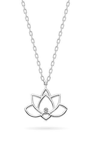 Collar de plata de diamante de 0,02 quilates con cadena de plata y colgante de loto con colgante de flor de plata para mujer y niña