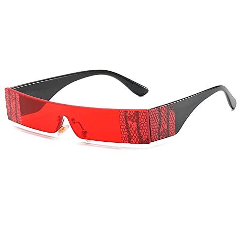 Gafas De Sol Gafas De Sol Sin Montura De Moda para Mujer, Gafas De Sol Pequeñas Y Coloridas Vintage para Mujer, Hombre, Parte Superior Plana, Negro, Rojo, Gafas Rectangulares Únicas C3Red