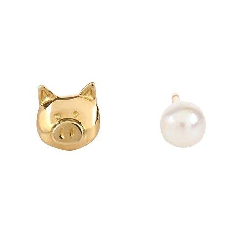 ゴールドピアス K18 イエローゴールド パールピアス ブタに真珠 パロディ かわいい ジュエリーピアス 豚に真珠ピアス