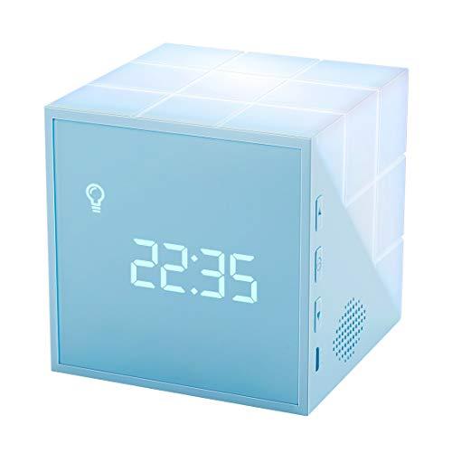 Homealexa Sveglia Digitale da Comodino Wake Up Light Orologio Sveglia da Tavolo con LED Luce Notturna Funzione Snooze 2 Allarmi Sveglia per Camera da Letto Camerette Bambini Regalo Natale Amici Blu