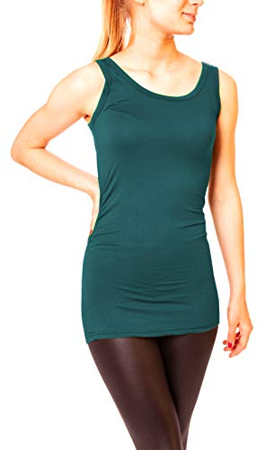 Easy Young Fashion Damen Basic Tank Top Träger Hemd Longtop Unterhemd Extra Lang Skiny Fit One Size Petrol