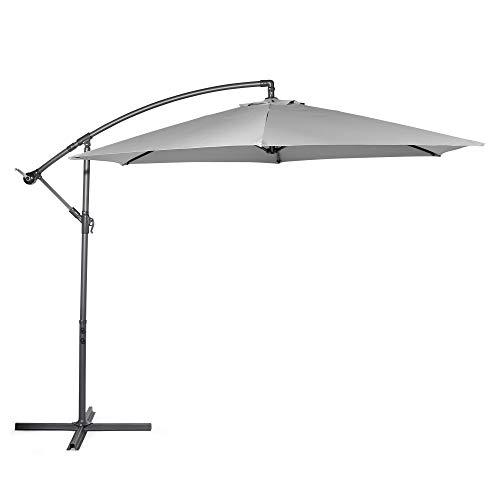 VonHaus 3M Banana Parasol - UV30+ Garden Cantilever Hanging Umbrella with Crank Mechanism for Outdoor, Garden and Patio - Grey