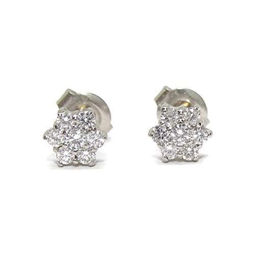 Orecchini con diamanti da 0,45 ct fiore da 6 mm di diametro montati in oro bianco 18 carati, ideali per comunione e donna.