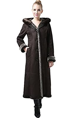BGSD Women's Pauline Hooded Faux Shearling Maxi Walking Coat Chocolate Light Brown Large by