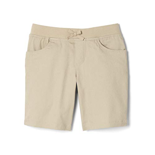 French Toast Girls' Big Stretch Pull-On Tie Front Short, Khaki, 7