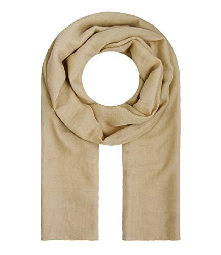 Majea Tuch Lima schmal geschnittenes Damen-Halstuch leicht uni einfarbig dünn unifarben Schal weich Sommerschal Übergangsschal (beige)