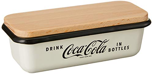 TableCraft's Coca-Cola Enamel Butter Dish with Lid 6.5 x 3 x 2.25', White