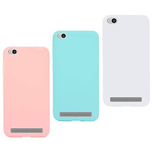 3X Funda Xiaomi Redmi 4A Silicona Carcasa Suave Flexible TPU Gel CoverTp Ultra Fina Delgado Case Cubierta Protectora Caja para Xiaomi Redmi 4A Rosa Verde Blanco