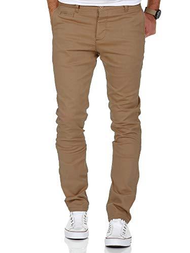 Amaci&Sons Herren Slim Fit Stretch Chino Hose Jeans 7100 Beige W33/L34