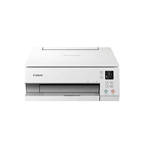 Canon PIXMA TS6351 Drucker Farbtintenstrahl Multifunktionsgerät DIN A4 (Scanner, Kopierer, Fotodrucker, OLED, 4.800 x 1.200 dpi, USB, WLAN, 5 separate Tinten, Duplexdruck, 2 Papierzuführungen), weiß