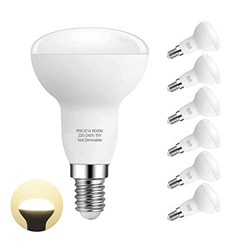 Ampoule Led E14 Lampe, Blanc Chaud 3000K, R50 Led 5W (40W Ampoules Halogène Équivalent), Angle du faisceau 180°, Pack de 6 By Pursnic