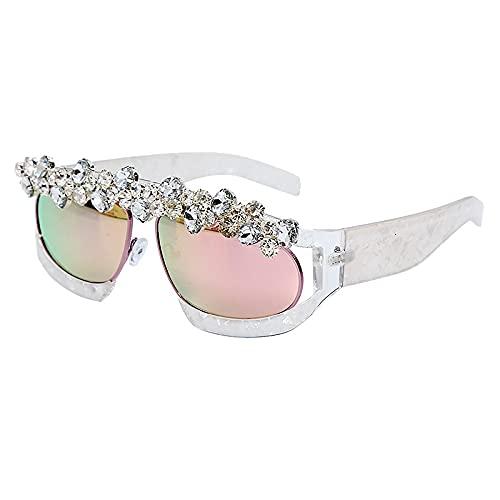AMFG Marco Transparente Gafas De Sol Hecho A Mano Personalidad Street Shooting Tendencia Moda Gafas De Sol Gafas (Color : A)
