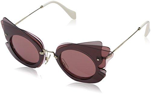 Miu Miu Damen 0Mu02Ss Va50A0 63 Sonnenbrille, Braun (Dark Brown/Pink/Dark Violet)