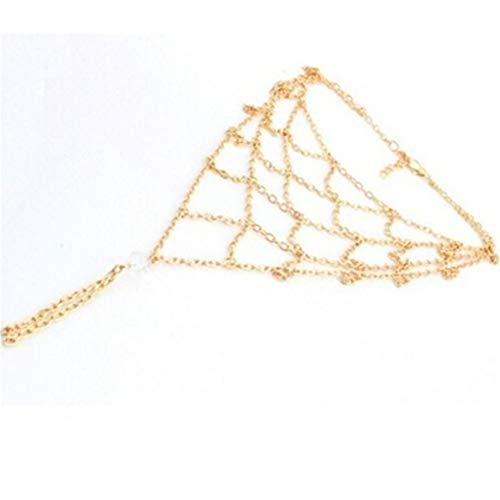 Weryffe Stilvolle Barfußsandalen Häkeln Baumwolle Fußschmuck Armband Hochzeit Knöchel Kette Armband Für Frauen Mädchen (Golden)