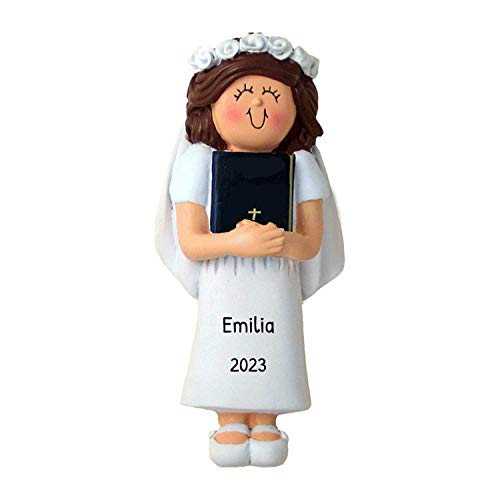 Personalized First Communion Bible Christmas Tree Ornament 2020 - Brunette Girl Prayer Religious Angel Woman White Dress Grand-Daughter Milestone 1st Holy Church - Free Customization (Female Brown)