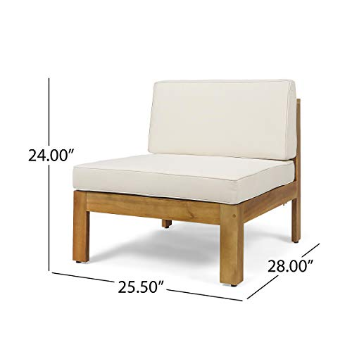 Christopher Knight Home 308260 Mamie Outdoor Acacia Wood 5 Piece Sofa Set, Teak Finish, Beige