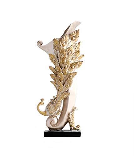 Heimtextilien Einfache Moderne Pfauenvasendekoration Europäische kreative Wohnzimmertabelle Trockenblumengesteck Blumendekoration Hauptdesktopdekoration. Wohnaccessoires (Color : Gold)