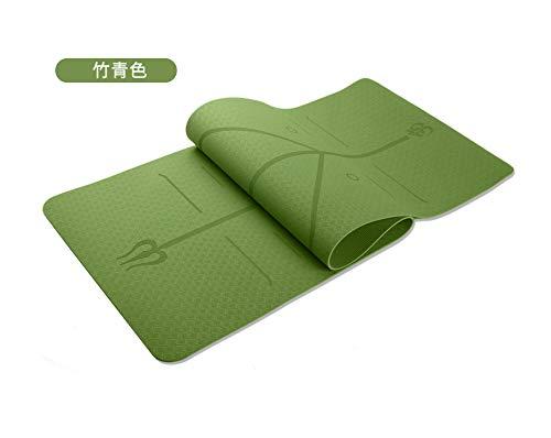 Nobranded TPE Estera De Yoga Línea De Postura De Una Sola Capa Monocromática 6mm Estera De Yoga Antideslizante Estera De Fitness Verde de bambú
