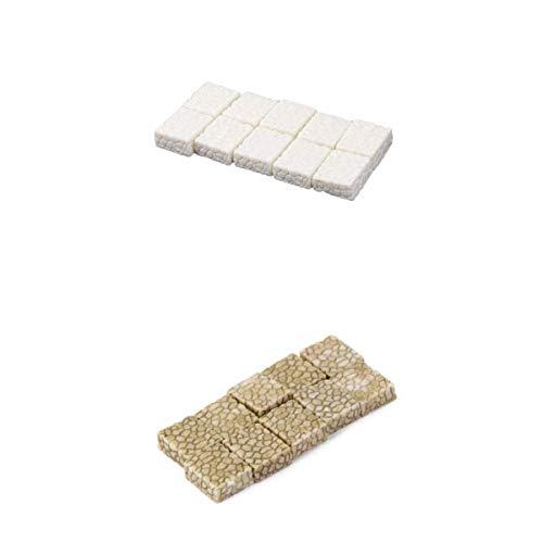 LOVIVER 20x Miniatur Weiß + Grau Steinpflaster Puppenhaus Bonsai