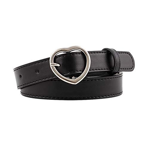BeltKings Damen Dünner Gürtel mit herzförmiger Schnalle PU-Lederbund für lässige Jeans kleider Schwarz