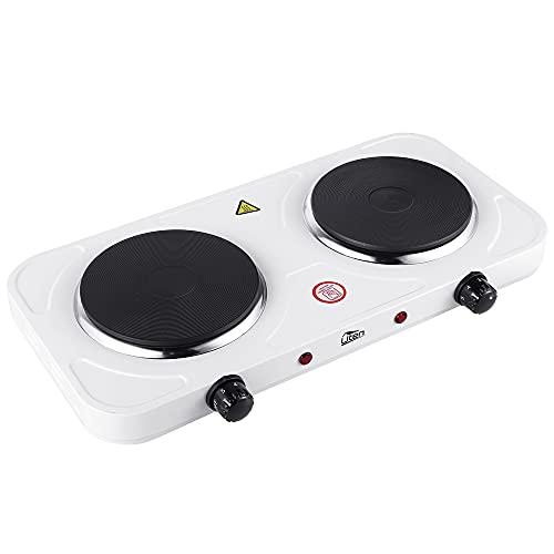 Uten Fornello elettrico a torta doppio Fornelli elettrici Fornellini bianco, 2000W (Ø15,5 cm + Ø15,5 cm), 5 livelli di potenza, adatto per campeggio, cucina, ecc
