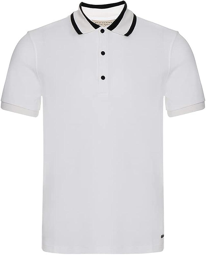Burberry White Marton Cotton Pique Regular Fit Polo Shirt, Brand Size XX-Large