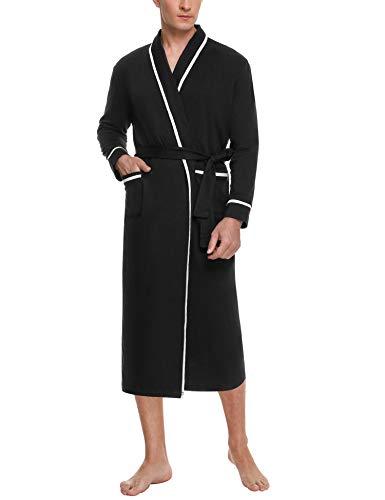 Aibrou Vestaglia Uomo Cotone,Vestaglie da Uomo Vestaglia Uomo Lunga Scollo a V Elegante Pigiama Kimono Uomo con Cintura 2 Tasca per Notte Casa Hotel S-XXL
