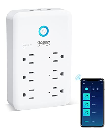 Smart Plug Outlet Extender, Surge Protector Power Strip Work with Alexa, Google Home, Wall Multi WiFi Outlet with 3 USB Ports, 6 Outlet Wall Adapter Plug Extender for APP Control,15A/1800W (White)