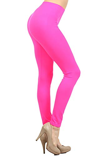 NeonNation Colored Seamless Leggings Athletic Pants, Neon Pink, Size One Size